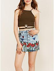 Damen Einfach Ausgehen Lässig/Alltäglich Mini Röcke A-Linie,Jeansstoff Blumen Frühling Herbst