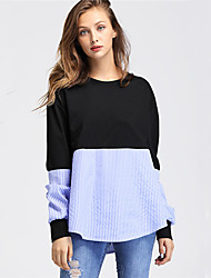 Women's Holiday Work Sexy Fall Winter Shirt,Color Block Round Neck Long Sleeves Polyester