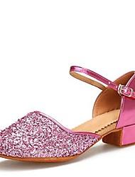 "Kids' Kids' Dance Shoes Paillette Leatherette Sandal Indoor Buckle Cuban Heel Fuchsia Gold 1"" - 1 3/4"""