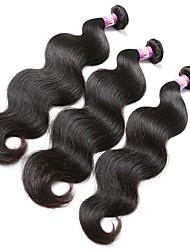 economico -Peruviano Ondulato naturale Capello vergine Ciocche a onde capelli veri 3 pacchetti Tessiture capelli umani Nero Naturale Estensioni dei capelli umani