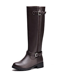 cheap -Women's Shoes PU Spring Summer Comfort Novelty Fashion Boots Boots Flat Heel Round Toe Mid-Calf Boots Buckle Zipper For Outdoor Office &