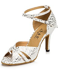 "Women's Latin Flocking Sandal Heel Sneaker Indoor Polka Dot Stiletto Heel Blue White 2"" - 2 3/4"" Customizable"