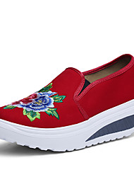 Women's Shoes Canvas Spring Fall Comfort Loafers & Slip-Ons Wedge Heel Round Toe Flower For Casual Office & Career Light Blue Red Dark
