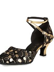 billige -Damer Moderne Læder Hæle Indendørs Polkaprikker Personligt tilpassede hæle Sort og Guld Sort og Sølv Personligt tilpasset hæl Kan