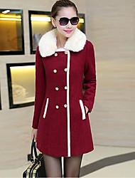 Damen Solide Einfarbig Street Schick Ausgehen Mantel,Hemdkragen Winter Lange Ärmel Standard Kaschmir Polyester