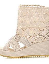 Women's Shoes Linen Summer Comfort Sandals Wedge Heel Peep Toe For Casual Black Beige