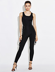 cheap -Women's Club Jumpsuit - Solid Colored, Criss-Cross High Rise