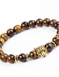 cheap -Men's Women's Onyx Bracelet Strand Bracelet - Natural Handmade Round Leopard Brown Bracelet For Party Gift
