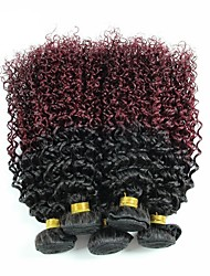 Virgin Indian Ombre Hair Weaves Kinky Curly Hair Extensions 3 Pieces Black/Dark Wine