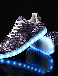 cheap -Men's Shoes Canvas Fall Winter Light Up Shoes Comfort Sneakers With Animal Print LED Lace-up For Casual Party & Evening Blue Black