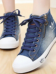 Women's Shoes Canvas Spring Summer Comfort Sneakers With For Casual Light Blue Dark Blue