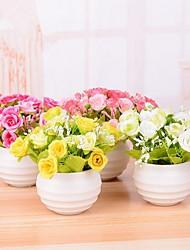 12 têtes / branche en plastique roses fleur de table fleurs artificielles