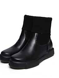cheap -Women's Boots Fashion Boots Fall Winter Leatherette Casual Office & Career Split Joint Low Heel Black White 2in-2 3/4in