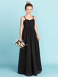 A-Line Spaghetti Straps Floor Length Chiffon Junior Bridesmaid Dress with Criss Cross Ruching by LAN TING BRIDE®