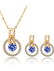 cheap -Women's Bohemian Fashion Wedding Evening Party Rhinestone Gold Plated Necklace Earrings