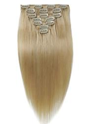 economico -dritto biondo malese luce # 613 testa piena naturale 100 grammi 7 pezzi clip in estensioni dei capelli umani
