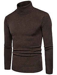 cheap -Men's Daily Plus Size Regular Pullover,Solid Turtleneck Long Sleeves Polyester Winter Fall Medium Micro-elastic