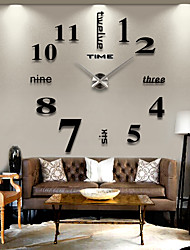 Frameless DIY Wall Clock, 3D Mirror Wall Clock Large Mute Wall Stickers for  Living Room Bedroom Home Decoration