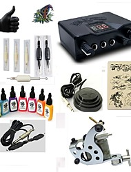 starter tattoo kits 1 steel machine liner & shader LED power supply 5 x tattoo needle RL 3 Complete Kit