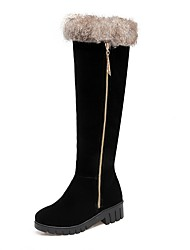 Women's Shoes Nubuck leather Winter Fashion Boots Boots Low Heel Round Toe Thigh-high Boots For Casual Dress Brown Yellow Gray Black