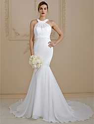 cheap -Mermaid / Trumpet Jewel Neck Court Train Chiffon Wedding Dress with Beading by LAN TING BRIDE®
