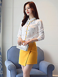 cheap -Women's Daily Work Casual Spring Fall Blouse,Print Shirt Collar Long Sleeves Polyester Thin