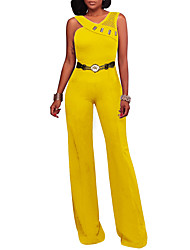 cheap -Women's Vintage Street chic Jumpsuit - Solid Colored, Backless Mesh High Rise Wide Leg V Neck