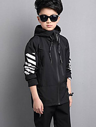 cheap -Boys' Print Jacket & Coat,Polyester Winter Fall Black