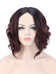 cheap -Women Synthetic Wig Capless Short Medium Natural Wave Jheri Curl Black/Dark Auburn For Black Women Ombre Hair Natural Hairline Bob