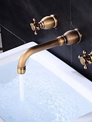 Widespread Widespread Brass Valve Two Handles Three Holes Antique Copper , Bathroom Sink Faucet