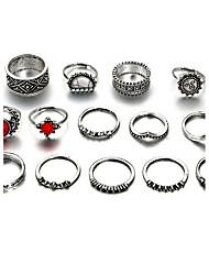 Women's Midi Rings Crystal Rhinestone Bohemian Rock Crystal Alloy Flower Sun Jewelry For Casual Formal