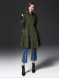 cheap -FRMZ Women's Daily Going out Street chic Winter Fall Trench Coat,Solid Shirt Collar Long Sleeve Long Cotton Others