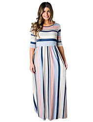 cheap -Muted Multicolor Striped Half Sleeve Casual Maxi Dress