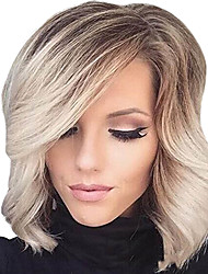 Women Synthetic Wig Capless Short Curly Wavy Natural Wave Blonde Side Part Ombre Hair Highlighted/Balayage Hair With Bangs Party Wig