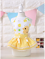 cheap -Dog Dress Dog Clothes Floral / Botanical Yellow / Pink Fabric Costume For Pets Summer Women's Casual / Daily