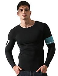 preiswerte -Herrn Laufshirt Langarm Atmungsaktivität T-shirt Sweatshirt für Rennen Leger Übung & Fitness Baumwolle Schlank Schwarz Grau M L XL XXL