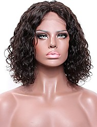 Women Human Hair Lace Wig Glueless Lace Front 180% 150% Density With Baby Hair Curly Wigs Brazilian Hair Medium Brown Dark Brown Black