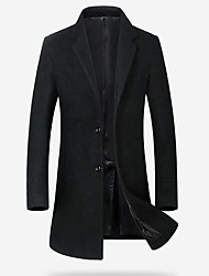 cheap -Men's Daily Simple Casual Winter Fall Coat,Solid Peaked Lapel Long Sleeve Long Wool