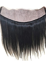 luxuoso liso 13x4 orelha a orelha base de seda completa renda frontal brazilian virgem cabelo parte livre pré arrancada cabelo cor natural