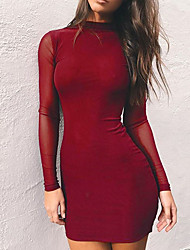 cheap -Women's Daily Going out Cute Sexy A Line Dress,Solid Round Neck Above Knee Long Sleeves Polyester Winter Fall Mid Rise Micro-elastic