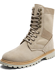 Men's Shoes PU Fall Winter Combat Boots Boots Mid-Calf Boots Split Joint Lace-up For Casual Party & Evening Beige