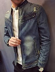 Masculino Jaqueta jeans Para Noite Casual Simples Primavera Outono,Estampa Colorida Curto Algodão Poliéster Outros Colarinho Chinês Manga