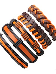 Недорогие -Муж. Жен. Wrap Браслеты Кожаные браслеты - Кожа Богемные, Мода Браслеты Оранжевый Назначение Повседневные На выход