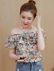 Women's Casual/Daily Simple Blouse,Floral Print Boat Neck Short Sleeves Polyester