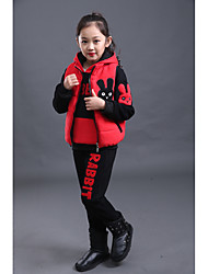 Girls' Others Solid Sets,Cotton Fall Winter Long Sleeve Clothing Set