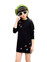 cheap -Girl's Birthday Daily Going out Solid Floral Dress,Cotton Rayon Spring Fall Long Sleeve Floral Bow Black Red