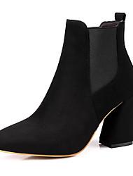 baratos -Mulheres Sapatos Courino Outono / Inverno Conforto Botas Salto Robusto Dedo Apontado Botas Curtas / Ankle Elástico para Festas & Noite /