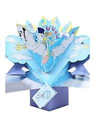 abordables -Pli Parallèle Vertical Invitations de mariage Cartons d'Invitation Pour 'Baptême' Style floral Papier gaufré