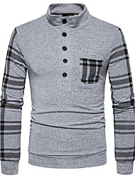 Men's Casual/Daily Street chic T-shirt,Striped Stand Long Sleeves Polyester