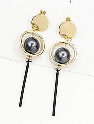 economico -Per donna Orecchini a goccia Perle finte Di tendenza Perle finte Perla Nera Lega Circolare Gioielli Per Quotidiano